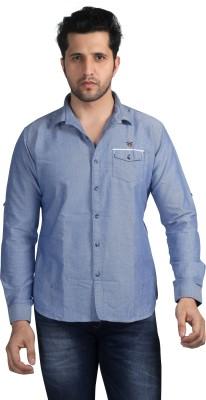 Nostrum Jeans Men's Solid Casual Blue Shirt