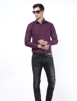 Remo Men's Solid Formal Purple Shirt