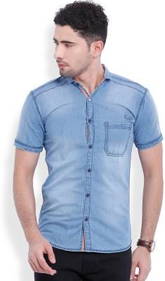 Vintage Men's Solid Casual Denim Blue Shirt