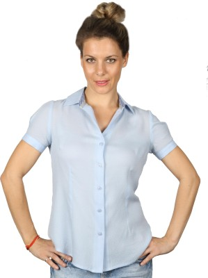 Ir Apparels Women's Solid Formal Light Blue Shirt