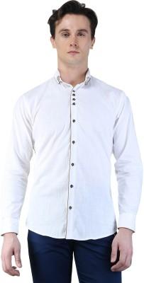 Magnoguy Men's Self Design Casual White Shirt