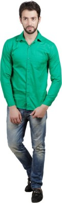 PSK Men's Solid Formal Green Shirt