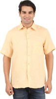 Gm Formal Shirts (Men's) - GM Men's Solid Formal Linen Yellow Shirt