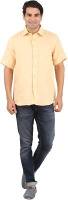 GM Men's Solid Formal Linen Orange Shirt