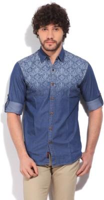 High Star Men's Printed Casual Blue Shirt