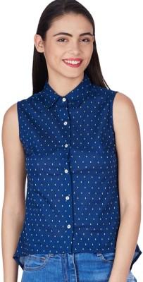 American Swan Women's Printed Formal Blue Shirt