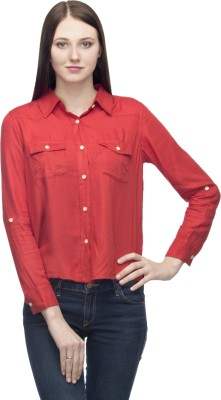 One Femme Women's Solid Party, Formal Red Shirt