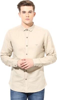 Velloche Men's Solid Casual, Festive Linen Beige Shirt