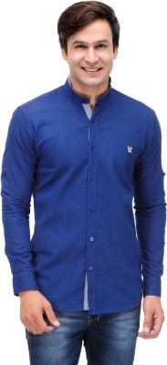 Nexq Men's Solid Casual Linen Dark Blue Shirt