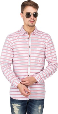 Slub By INMARK Men's Striped Casual Pink Shirt