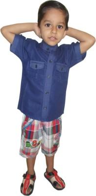 Cody Boy's Solid Formal Denim Blue Shirt