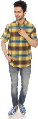 Kalaa Men's Checkered Casual Yellow, Brown, Blue Shirt