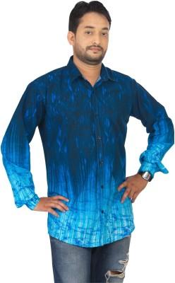 Modo Vivendi Men's Self Design Casual Blue Shirt