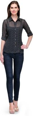 7 Soft Colors Women's Printed Casual Black Shirt