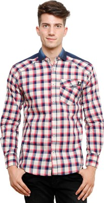 Ebry Men's Checkered Casual White, Red Shirt