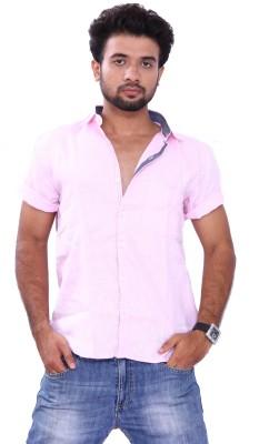 Bleu Men's Solid Formal Linen Pink Shirt