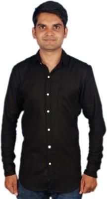 maclavaro Men's Solid Casual, Party Black Shirt