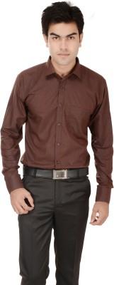 Kalrav Men's Solid Casual, Formal, Party, Wedding Brown Shirt