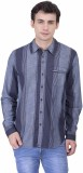 Oxolloxo Men's Striped Casual Blue Shirt