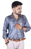 Try Me Men's Solid Formal Blue Shirt
