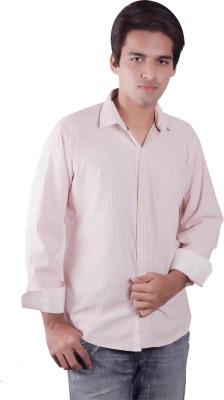 Elle Et Lui Men's Striped Formal White, Orange Shirt