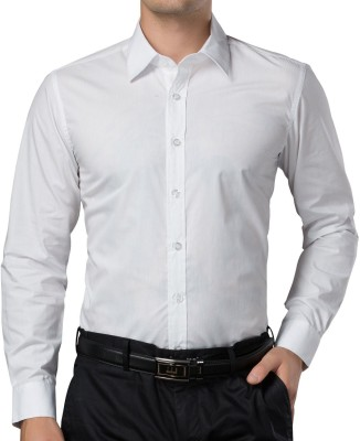 You Forever Men's Solid Formal White Shirt