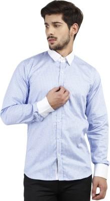 Marcello And Ferri Men's Printed Formal Light Blue Shirt