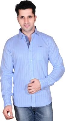 Denimize Men's Striped Casual Light Blue Shirt