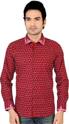 X-Secret Men's Printed Party Maroon Shirt