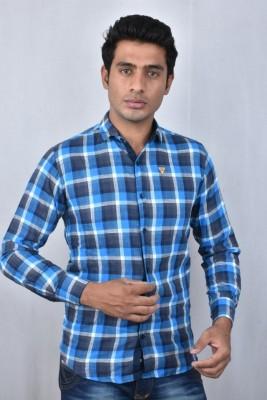 Hometrade India Men's Checkered Casual Blue Shirt