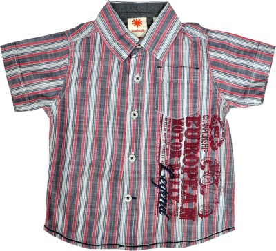 Sunbright Boy's Printed Casual Maroon Shirt