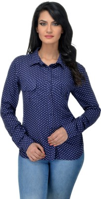Urban Republic Women's Polka Print Casual Blue Shirt