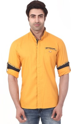 Vintage Soul Men's Solid Casual Yellow Shirt