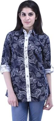 Aarr Women,s Printed Casual Black Shirt