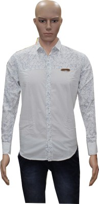 Menz Fashion Men's Printed Casual White Shirt