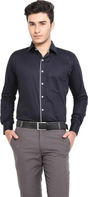 Shaftesbury London Men's Solid Formal Black Shirt