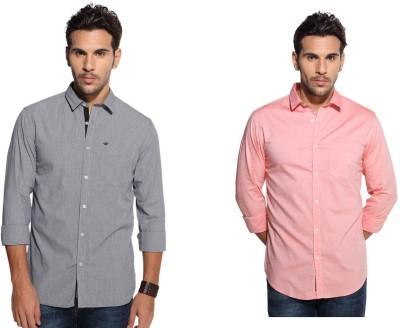 Marc N, Park Men's Checkered, Solid Casual Black, Orange Shirt