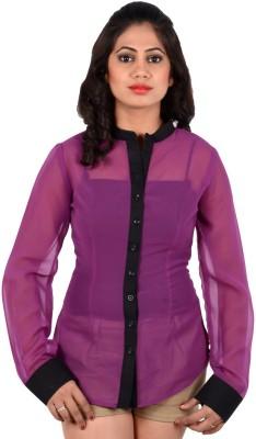 S9 Women's Solid Party Purple, Black Shirt