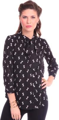 Street 9 Women's Printed Casual Black Shirt