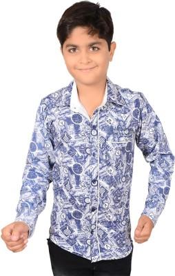 Aedi Boy's Graphic Print Casual Blue Shirt
