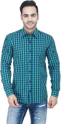 LEAF Men's Checkered Casual Green, White, Blue Shirt