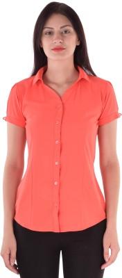 cutemad Women's Solid Formal Orange Shirt