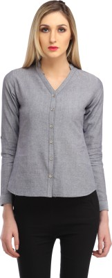 Cation Women's Solid Casual Grey Shirt