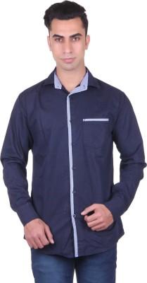 Cotblend Men's Solid Casual Blue Shirt
