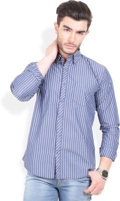 Urban Attire Men's Striped Casual Blue Shirt