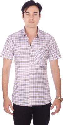 Darzii Men's Checkered Casual White, Purple, Yellow Shirt