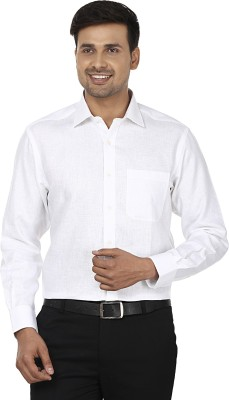 Wills Lifestyle Men's Solid Formal Linen White Shirt