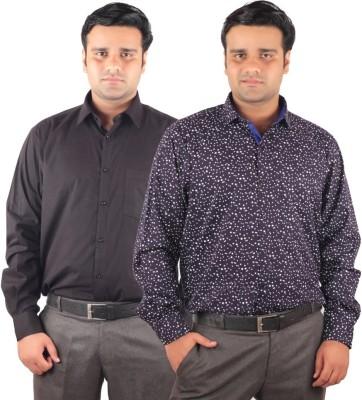 RIPARV Men's Solid, Printed Formal Black, Blue Shirt