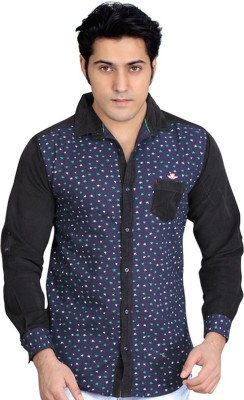 Private Image Men's Printed Casual, Party Dark Blue Shirt