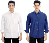 Elegant Men's Solid Casual White, Blue S...